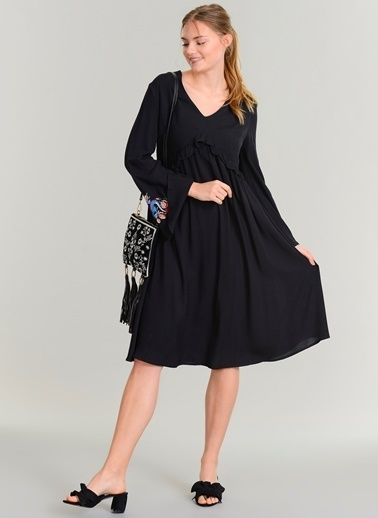 Agenda Nakış Detaylı Elbise Siyah